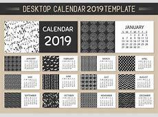 Monthly Desktop Calendar 2019 Vector Template Download