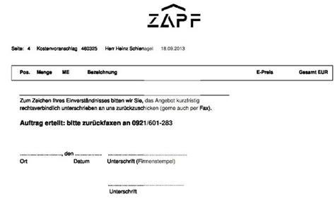 Kostenvoranschlag Garage by Kostenvoranschlag Der Fa Zapf Gmbh F 252 R Dachsanierung