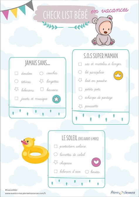 La check-list des premières vacances de bébé - Evasionmer