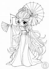Chibi Yampuff Chibis Coloring Pages Kimono Lineart Princess Stuff Bunnie Kuriko Commission sketch template
