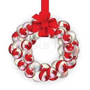 wreath decoration from canada baubles on white stock vector colourbox