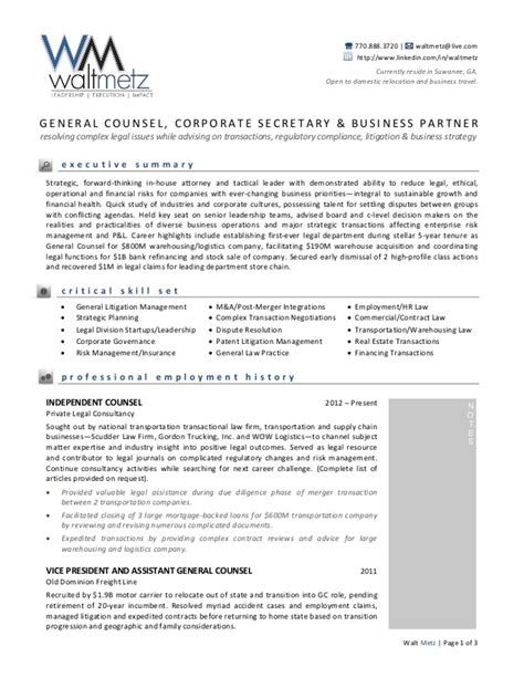 In House Counsel Cv by Walt Metz General Resume