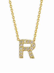 lyst roberto coin diamond 18k yellow gold letter r With diamond letter r necklace
