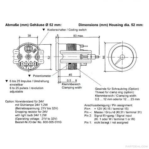 vdo vdo vision black 4000 rpm 3 3 8 in tachometer with