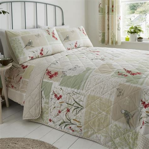 dionne floral patchwork quilted bedspread multi