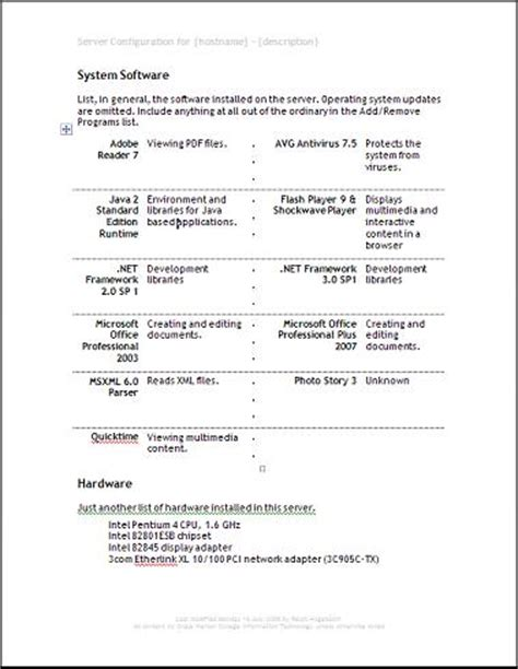 Server Documentation Template windows and android free downloads server documentation
