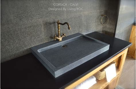"27"" Gray Granite Stone Bathroom Sink Corsica"