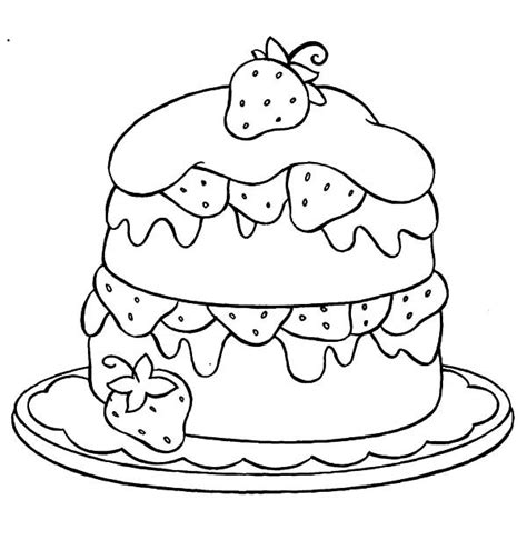 strawberry cake coloring pages  place  color