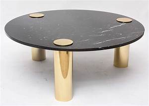 1970s pace style brass and black marble coffee table at With brass and stone coffee table