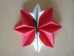 Pliage De Serviette En Etoile : pliage serviette etoile flocon blanc et rouge ~ Melissatoandfro.com Idées de Décoration