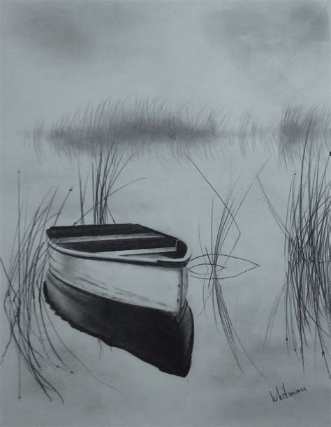 Boat Drawing By Pencil by Row Boat On The Lake Reflections Sketch Original