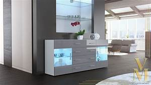 Sideboard Weiß Grau : modern sideboard buffet server storage cabinet chest bari v2 white high gloss ebay ~ Orissabook.com Haus und Dekorationen