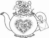 Coloring Pages Tea Teapot Kettle Adult Disney Pyrography Patterns Sketch Sketchite Template Cup Drawings Simple Sketches Memory sketch template
