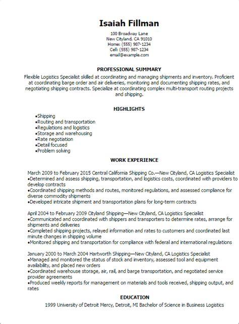 professional logistics specialist resume templates
