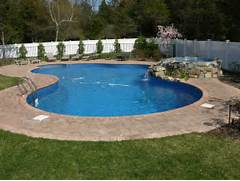 Swimming Pool Design Shape This Is An In Ground Pool In A Free Form Shape Lined Using Blue River