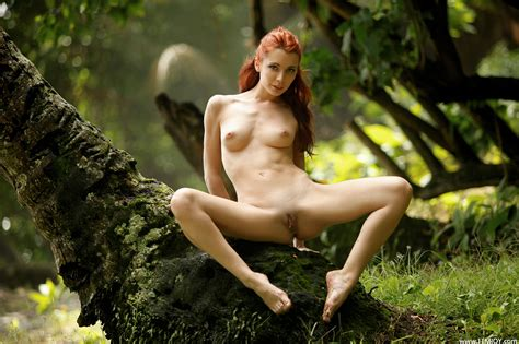Wallpaper Redhead Naked Pussy Breast Sexy Outdoor Tits Nice Tits Nature Tree Woods