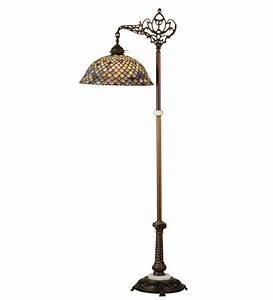 Tiffany fishscale bridge arm floor lamp all things tiffany for Vesta tiffany floor lamp