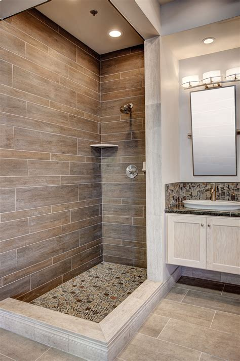 Bathroom Tile Designs Ideas by A Faux Wood Tile Shower Featuring Dyrewood Cinnamon Faux