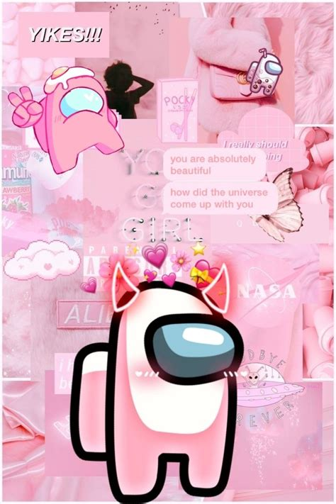 light pink among us aesthetic wallpaper wallpaper iphone
