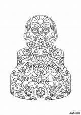 Coloring Pages Mexican Cake Skulls Adults Cakes Cupcakes Muertos Dia Los Cup Bring Many Sachin Sachdeva Adult Justcolor sketch template