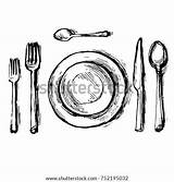 Spoon Silverware Fork Vector Tableware Knife Dish Shutterstock Drawn Coloring sketch template