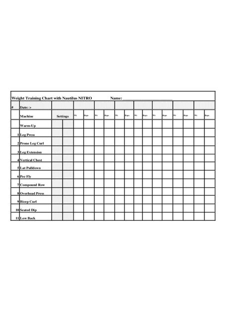 workout chart   templates   word excel