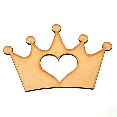 crown mdf wooden craft shape  hearts  stars cut outs
