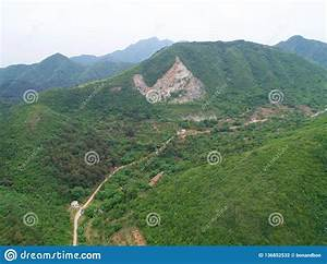 Aerial, View, Of, Green, Mountain, During, Summer, Season, Stock