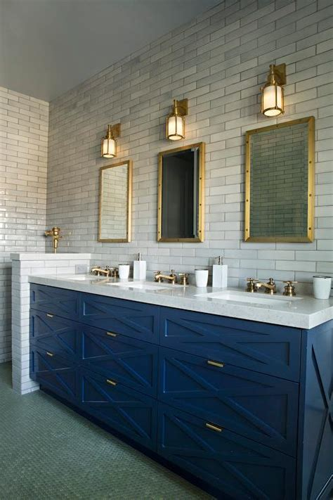 blue bathroom vanity cabinet blue sink vanity with three sinks and brass faucets