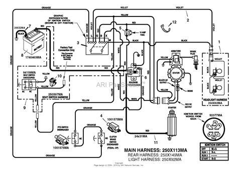 murray xc lawn tractor  parts diagram