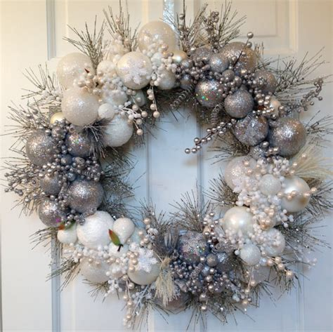 and white christmas wreaths silver white christmas wreath winter holiday decoration glass ornament decor front door