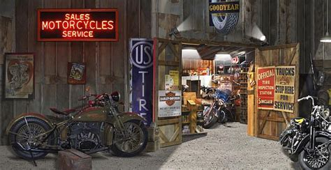 Harley Davidson Motorcycle Shop by Outside The Motorcycle Shop Panoramic Photography