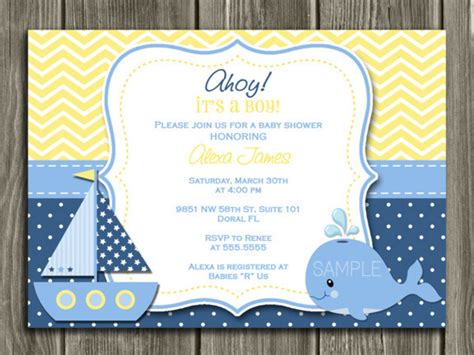 nautical baby shower invitations templates nautical theme baby shower invitations nickhaskins templates yellow blue colored polca