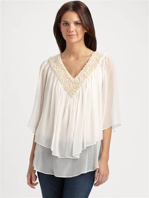 the blouse catherine malandrino tiered rosette silk chiffon blouse in