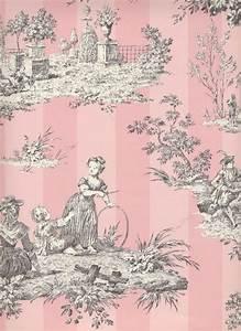 pink toile wallpaper