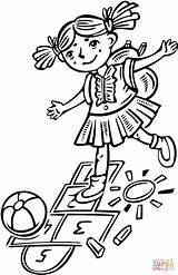 Hopscotch Playing Colorir Brincando Children Amarelinha Kleurplaat Bambini Che Menina Coloring Marelle Jouant Ragazza Gioca Desenho Enfants Fille Clipart Dziewczyny sketch template