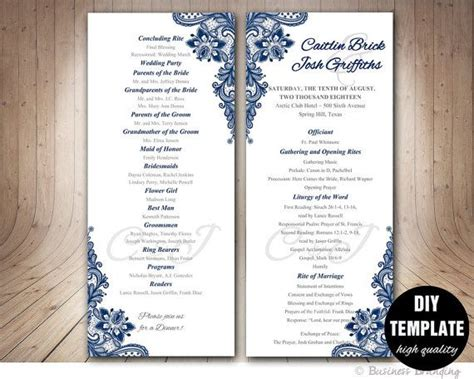 navy blue wedding program template instant
