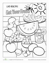 Fruit Coloring Worksheet Worksheets Healthy Education Fruits Nutrition Kindergarten Sheets Learning Eat English Rainbow Eating Pre Colors Malvorlagen Coloriage Month sketch template