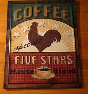 RED ROOSTER COFFEE Cafe Shop Country Kitchen Decor ...
