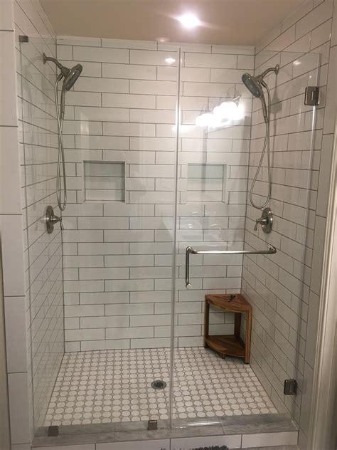 master bath remodel    subway tile  gray grout