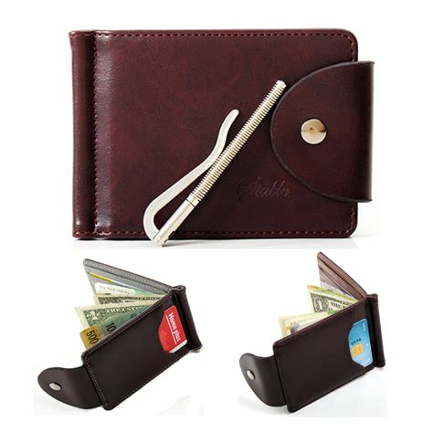 designer money clip s leather wallet mini pocket purse chic useful