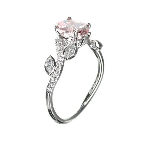 leaf design morganite engagement ring in 18k white gold 24 tcw