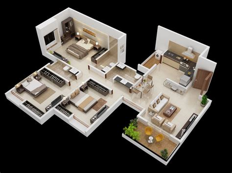3 Bhk Home Design : 25 More 3 Bedroom 3d Floor Plans