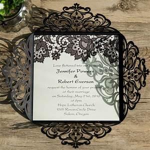 black lace vintage laser cut invites iwsm053 wedding With laser cut wedding invitations wholesale australia