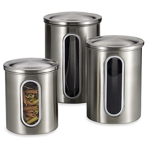 kitchen canister sets stainless steel polder brushed stainless steel window canisters set of 3