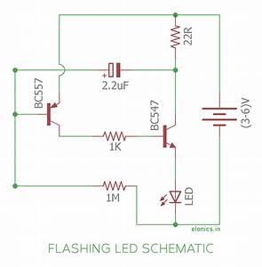 Simple Flashing Led Circuit Using Transistors