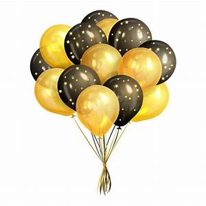 Bunch Of Realistic Black And Gold Helium Balloons Stock