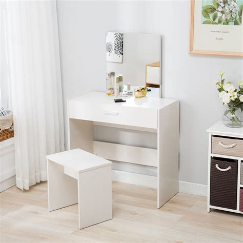 White Vanity Dressing Desk Makeup Table And Stool Set