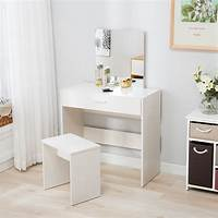 make up table White Vanity Dressing Desk Makeup Table and Stool Set Dresser with Mirror Drawer 699975649521 | eBay
