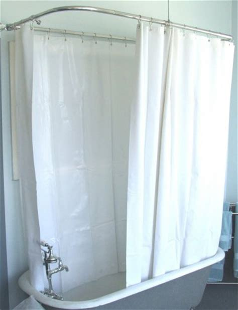 wide shower curtain for a clawfoot tub white less
